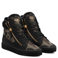 Giuseppe Zanotti Gz Cole Camouflage Fabric Sneaker With Ram Fur
