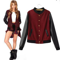 Faux Leather Embroidered Long Sleeve Baseball Jacket