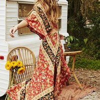 Bohemian Flower Print Sexy Cut Out Split Backless Maxi Dress