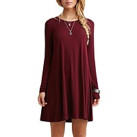 Long Sleeved Pleated Party Dress for Women