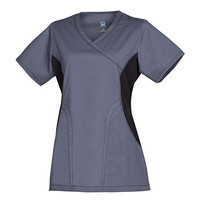 Empress by Maevn Women's Y Neck Knit Accent Solid Scrub Top