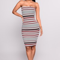 Dilys Stripes Dress - Wine