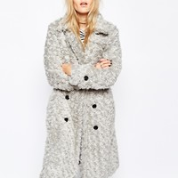Story Of Lola Longline Teddy Bear Faux Fur Coat In Textured Fur