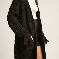 Lace-Up Open-Front Cardigan