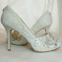TWINKLY PEEP TOES wedding shoes... vintage lace, Swarovski crystals, pearls and glass embellishments