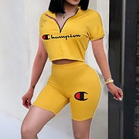 Champion Summer Trending Women Casual Print Shorts Sleeve Top Shorts Set Two Piece Sportswear Yellow
