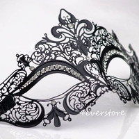 Gorgeous Black Laser Cut Venetian Mardi Gras Masquerade Mask with Sparking Rhinestones