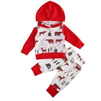 Christmas Baby Clothing 2PCS Toddler Baby Boys Patchwork Hooded Tops Pants Home Outfits Set Clothes Xmas Baby Clothing
