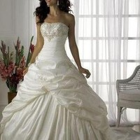 White Ivory Wedding Dress Bridal Gowns Prom Ball Gown Evening Dresses Size 4-16