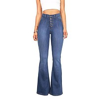 New Arrival Women Fashion Simple Solid Color Stretch Flare Jeans