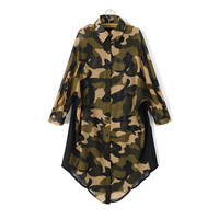 Women's Fashion Korean Camouflage Print Irregular Tops Shirt [5013227076]