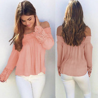Off Shoulder Plain Tops with Crochet Sleeves