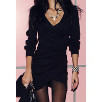 Black V-Neck Long Sleeves Mini Dress