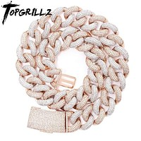 TOPGRILLZ 14mm 20mm Newest Box Clasp Micro Pave Iced CZ Cuban Link Necklaces Chains Luxury Bling  Jewelry Fashion Hiphop For Men  - jewelry