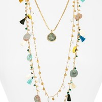 Tory Burch Coin & Tassle Multistrand Necklace | Nordstrom