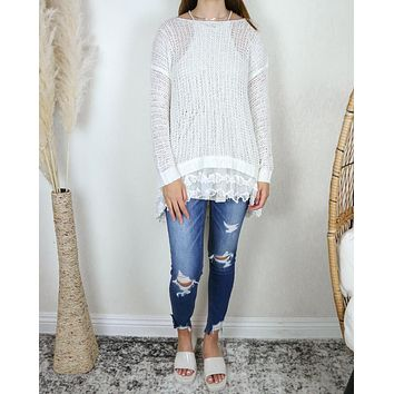 All Eyes On Me Lace Trim Sweater Tunic In More Colors