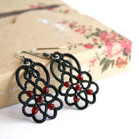 Black lace earrings Eternity, black earrings with red beads, tatted earrings, tatting jewelry