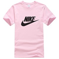NIKE New fashion letter hook print couple top t-shirt Pink