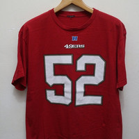 15% SALES Vintage 49ERS Willis 52 Tee T Shirt Red Size L