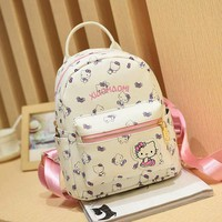 Cartton Backpack For Girls For School Leather Backpack Hello Kitty Children Mini Backpack Travel Bags Women Shoulder Bags