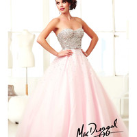 Mac Duggal 2014 Prom Dresses - Pink & Silver Rhinestone Sweetheart Strapless Tulle Gown