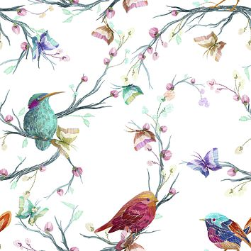 Butterfly Bird Garden Multicolored Wallpaper Reusable Removable Accent Vintage Style Wall Interior Art (wal022)