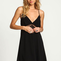 BLACK CROCHET STRAPPY SLIP DRESS