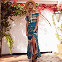 Bohemian villa word shoulder two suit dress dress