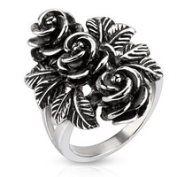 Vintage Rose Trio - FINAL SALE Pretty Intricately Carved Antiqued Stainless Steel Three Roses Cocktail Ring