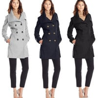 Fashion Long Sleeve Button Outerwear Jacket _ 12543
