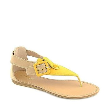 Bamboo Yellow Two Tone Sandals Thong Flats Shoes