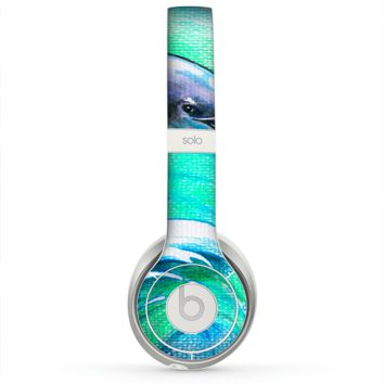 The Pastel Vibrant Blue Dolphin Skin for the Beats by Dre Solo 2 Headphones