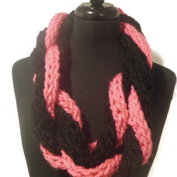 Hot pink and black knit infinty scarf, chunky infinity scarf