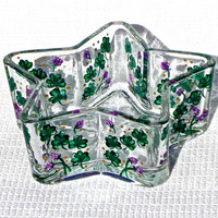 Hand Painted Star Shaped Bowl With Shamrocks Irish Gifts