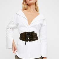 Free People Velvet Lace Up Corset