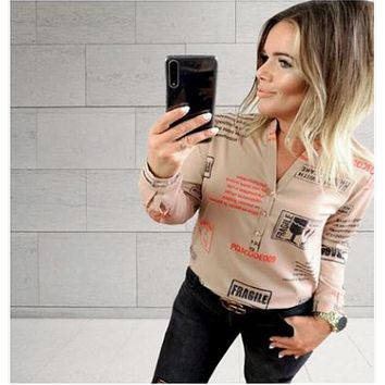 Fashion Printed Letters Casual V-neck Button Women's Long-sleeved T-shirt