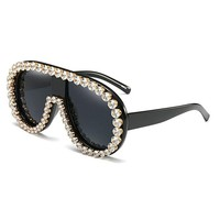 MINCL/2017 Womens Fashion Sunglasses Diamond Decorated Oval Eye Glasses Newest big Shield Glasses Frame Oversize   FML