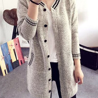 Striped Pattern Long Sleeve Cardigan