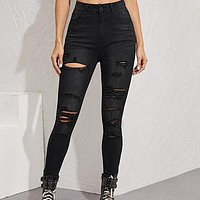 Black Frayed Edge Ripped Skinny Cropped Jeans Women Bottoms Shredded Casual Mid Waist Denim Trousers