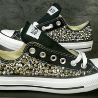 Custom Studded Converse Shoes Swarvoski & Spikes (ONE SIDED SHOES)