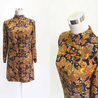 1960's Mod Dress - Vintage 60's Dress - Blue And Gold Psychedelic Dress