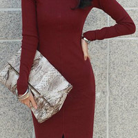 Wine Red Long Sleeve Turtle Neck Pencil Dress