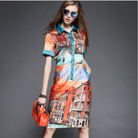 Vintage Building Print Collar Short-Sleeve A-Line Dress