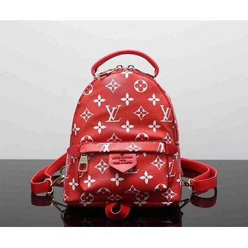 Tagre™ LV Louis Vuitton Trending Women Print Shoulder Bag Bookbag Backpack School Bag Red I