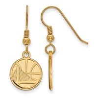 NBA 14k Yellow Gold Plated Silver Golden State Warriors Wire Earrings