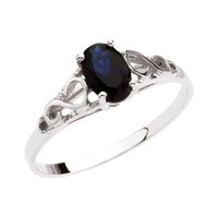 Sterling Silver or 14k White Gold Youth September Imm Sapphire Birthstone Ring