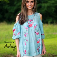 Umgee Light Blue Embroidered Cold Shoulder Top - Boutique At Audrey's