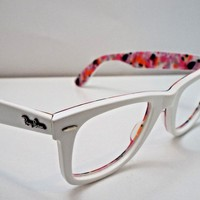 Authentic Ray-Ban RB 2140 1022/32 White Floral Print Sunglasses Frame $235