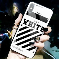 Off White New fashion letter arrow print glass shell camouflage protective cover phone case