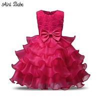 Aini Babe Baby Girl Christening Gown Baptism Clothes 1 Year Birthday Tutu Dress Infant Party Costume Kids Wear Vestido Infantil